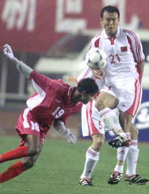 2002年世界杯亚洲区外围赛第9小组预选赛中国队主场10:1击败马尔代