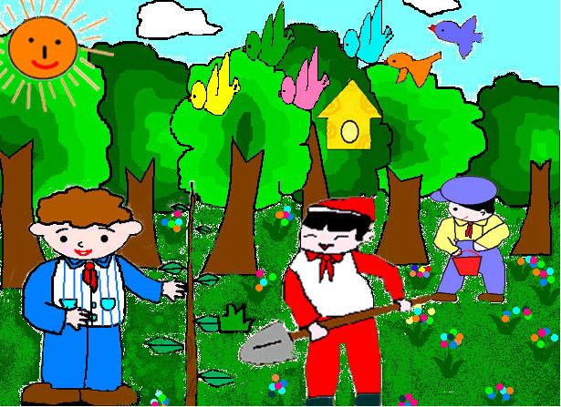 文明卫生城市儿童画