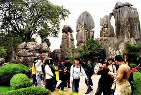 在云南省石林风景区小石林景点观看奇特的喀斯特地质景观.