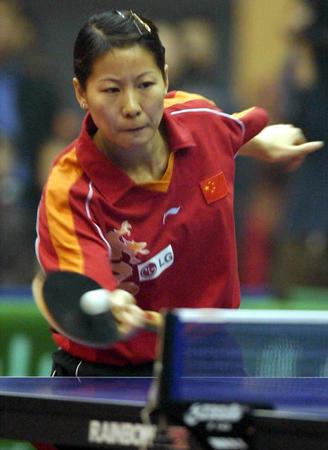 国家女乒内部热身赛 李菊正手回球