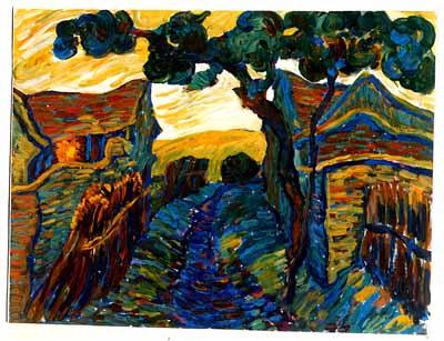 罗雪村油画作品:晚钟