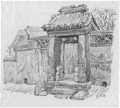 农村风景图画画素描