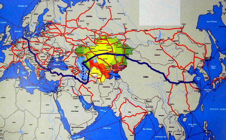 """图文:哈将建的""""欧亚新铁路通道""""示意图图片"""