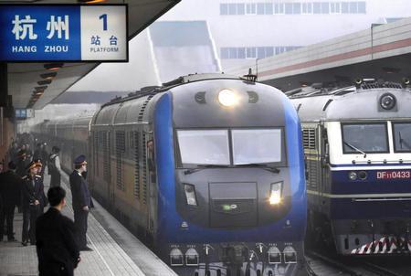 北京至杭州的Z9直达京杭特快列车准点抵达杭州站.火车从北京到杭