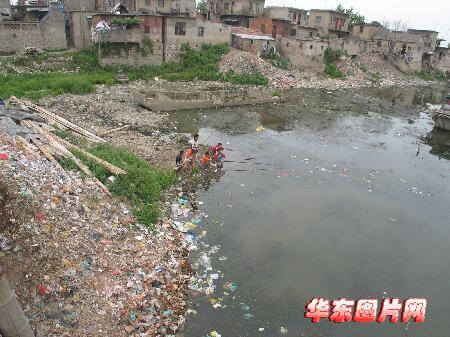 """淮河淮南段境内田家庵一个叫""""小岛""""的地方,河岸上边上满是垃圾."""