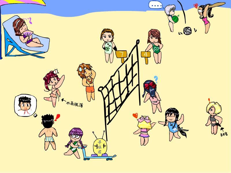 儿童人物沙滩画