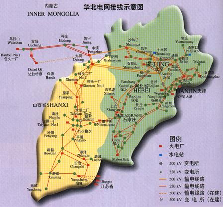 蒙西电网接线图