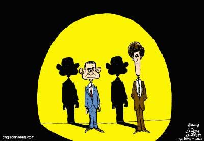 政治漫画:总统候选人的影子原来都一样(图)