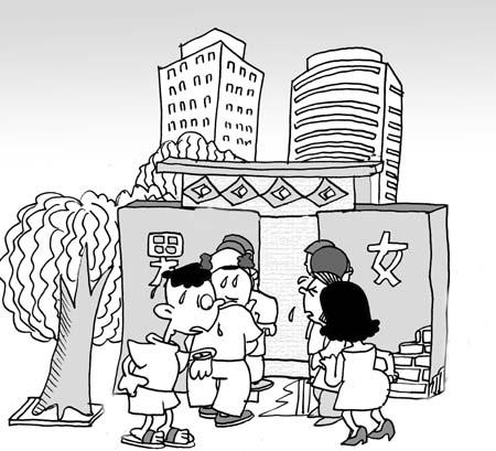 幼儿园排队上卫生间简笔画图片