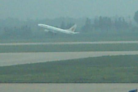 飞机从郑州起飞飞往长沙