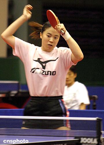 图 中国乒乓球女队员王楠备战奥运会