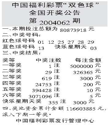"""中国福利彩票""""双色球""""全国开奖公告 第2004062期(图)"""