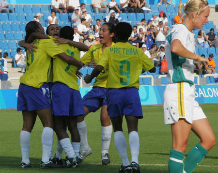 [奥运](1)足球�D�D巴西女足击败澳大利亚队