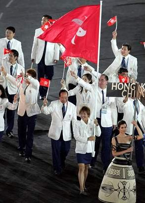 图文:奥运会开幕式 香港代表团进入会场