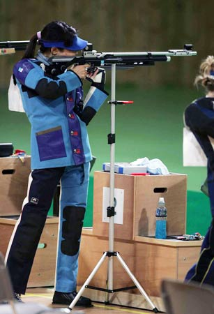 奥运会女子气步枪10米决赛 端枪试射