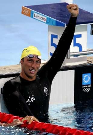 图文:男子400米自由泳 索普庆祝胜利