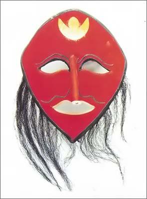 假头面具,有如撑开的半个倒扣的皮袋