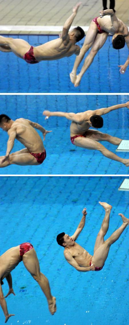 图文:跳水男双3米板 失误全纪录