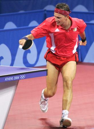 图文:乒乓球男单 比利时名将塞弗遭淘汰