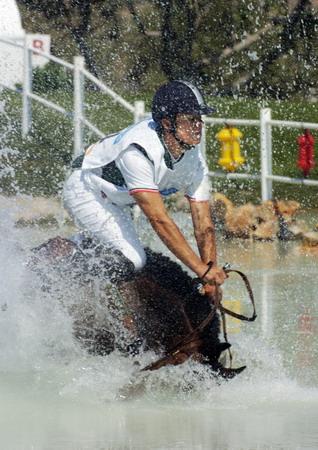 图文:马术障碍赛 水太深了