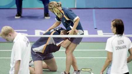图文:丹麦选手获混双铜牌
