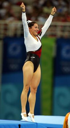 图文:女子蹦床 多格纳泽获胜后的激动表情