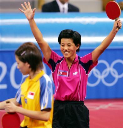 图文:朝鲜金香美晋级女单决赛 艰难获胜