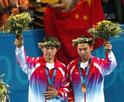 图文:乒乓球男双决赛 马琳/陈�^夺冠