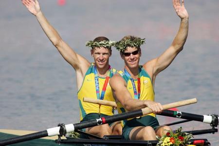 图文:男子双人单桨赛艇 澳大利亚选手获金牌