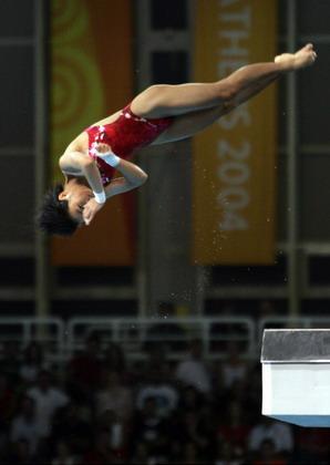 图文:女子十米跳台决赛 劳丽诗获得银牌