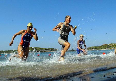 图文:女子铁人三项 运动员在游泳比赛中-2004