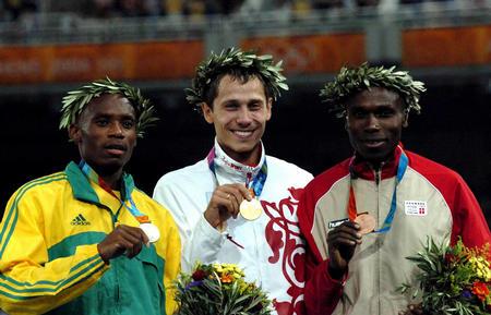 图文:男子800米颁奖仪式