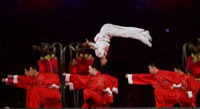 图文:雅典奥运会闭幕式 中国武术表演