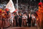 图文:奥运会闭幕式 北京接过奥运会旗