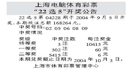 上海選開獎結果