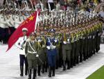 图文:奥运金牌精英大汇演 仪仗队步入会场