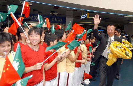 [奥运](3)奥运金牌代表团抵达澳门