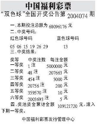 中国福利彩票+双色球全国开奖公告第20040