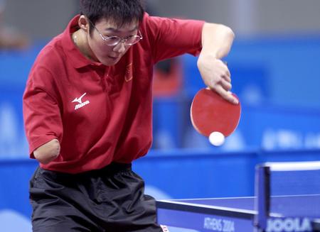 图文:中国河北选手葛扬在乒乓球比赛中