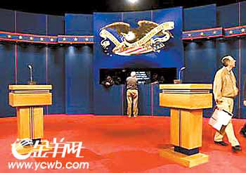 竞选团加紧最后造势 布什克里明天交锋辩论场