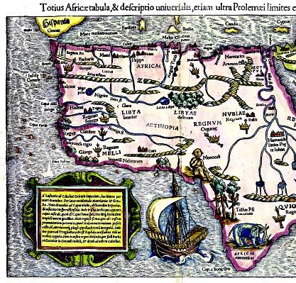 动物 德国人münster的非洲地图画满了怪诞和可怕的