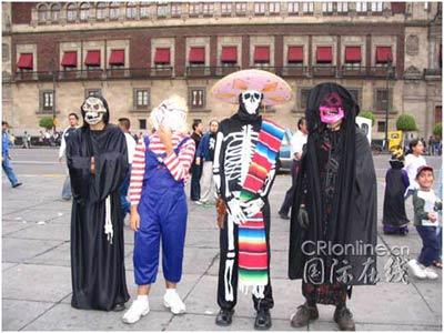 """墨西哥:一个欢乐的""""亡灵节""""[组图]"""