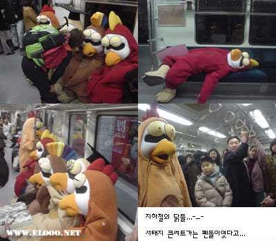 组图:韩国地铁车厢内的疯狂