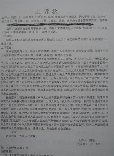 图文:饶颖向媒体公开部分书面文字资料-上诉状