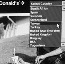 麦当劳英文官方网站将香港台湾列为国家
