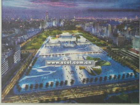 天府广场设计新方案创意:城市河道穿广场[图]图片