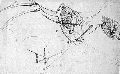 达芬奇设计的飞机整体构造草图.
