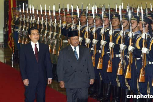 图:胡锦涛主席会见马来西亚最高元首西拉杰丁