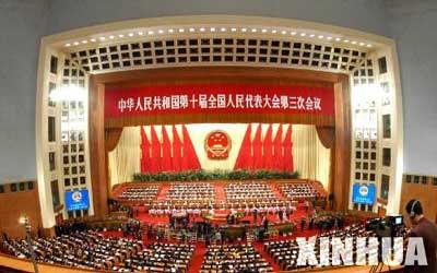 十届全国人大三次会议举行第三次全体会议