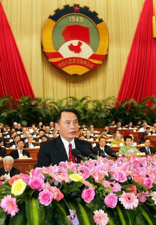 温克刚在全国政协第三次全体会议上发言(图)
